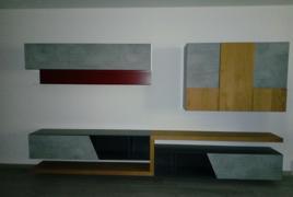 Rif. n. 34- Parete attrezzata soggiorno in legno grezzo