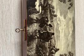 Scatola in legno con raffigurato scena rurale