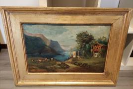 """dipinto olio su tela raffigurante """"veduta lacustre montana con armenti"""""""