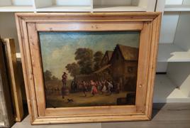 """dipinto olio su tela raffigurante """"festa sull'aia"""""""