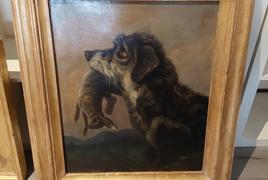 """dipinto olio su tela raffigurante """"cane e coniglio"""""""