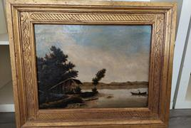 "dipinto olio su tela raffigurante ""veduta lacustre con barca"""