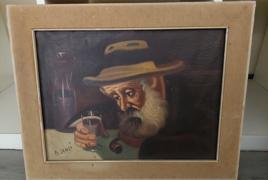 """B. Canzi, dipinto olio su tela raffigurante """"figura di srervitore"""" cm 33x43 firmato in basso a sinistra"""